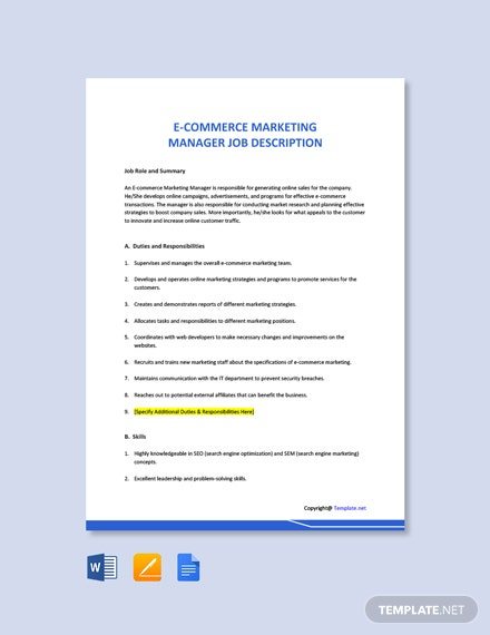 Free Ecommerce Marketing Manager Job Ad/Description Template