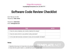 Software Code Review Checklist Template