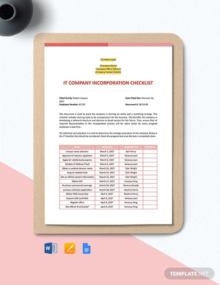 IT Company Incorporation Checklist Template