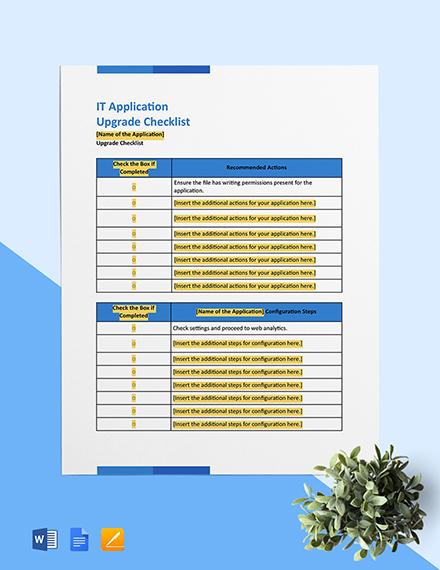 IT Application Upgrade Checklist Template