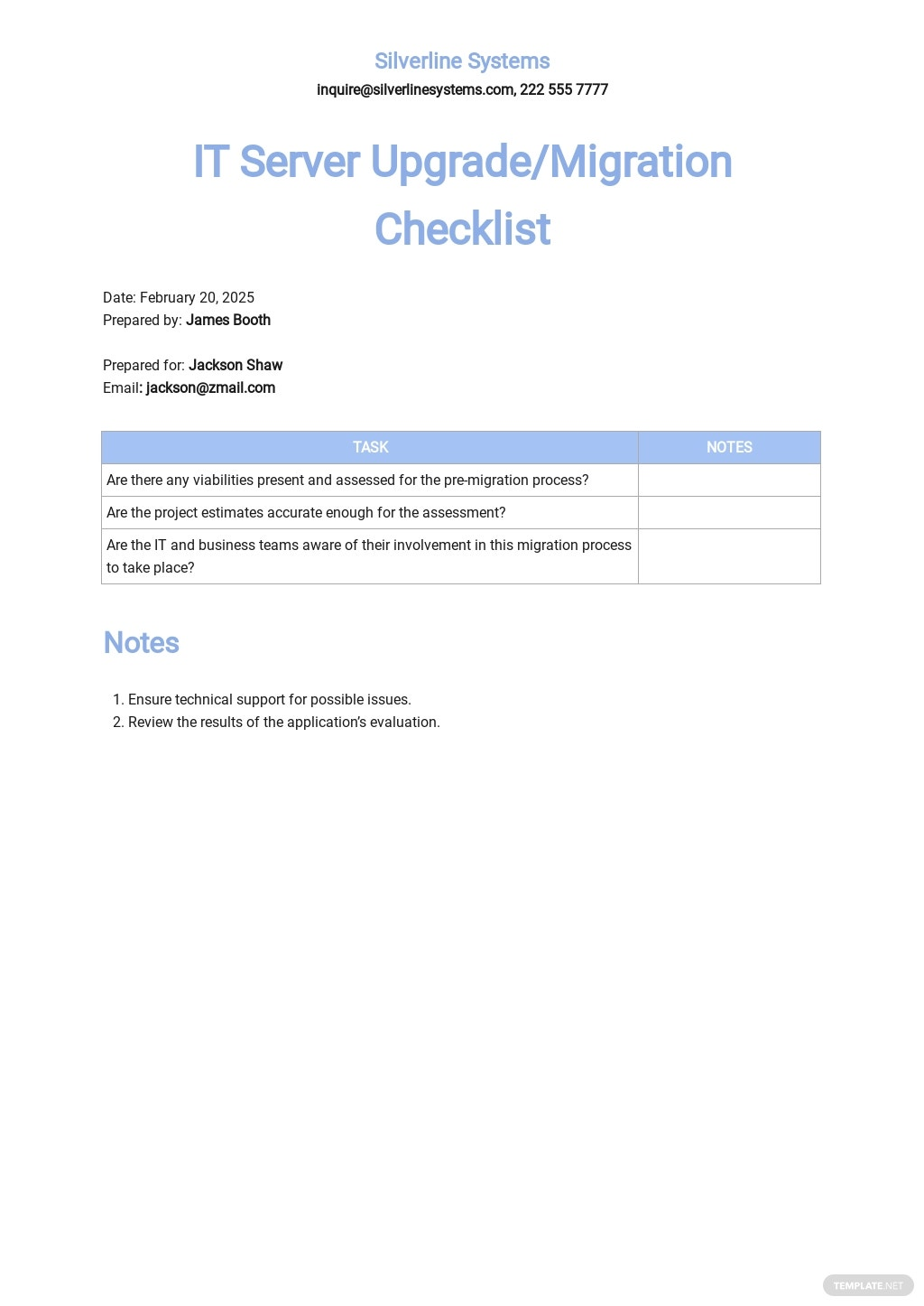 IT Server Upgrade / Migration Checklist Template