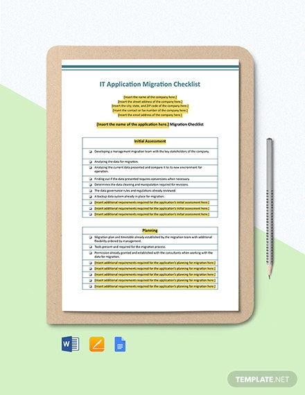 IT Application Migration Checklist Template