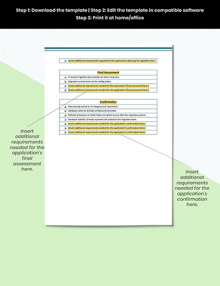 IT Application Migration Checklist Format