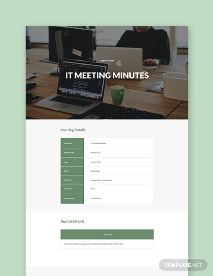 Free Sample IT Meeting Minutes Template