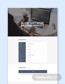 Free Blank Software Meeting Minutes Template