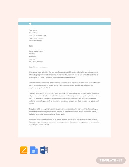 Free Staff Warning Letter Template