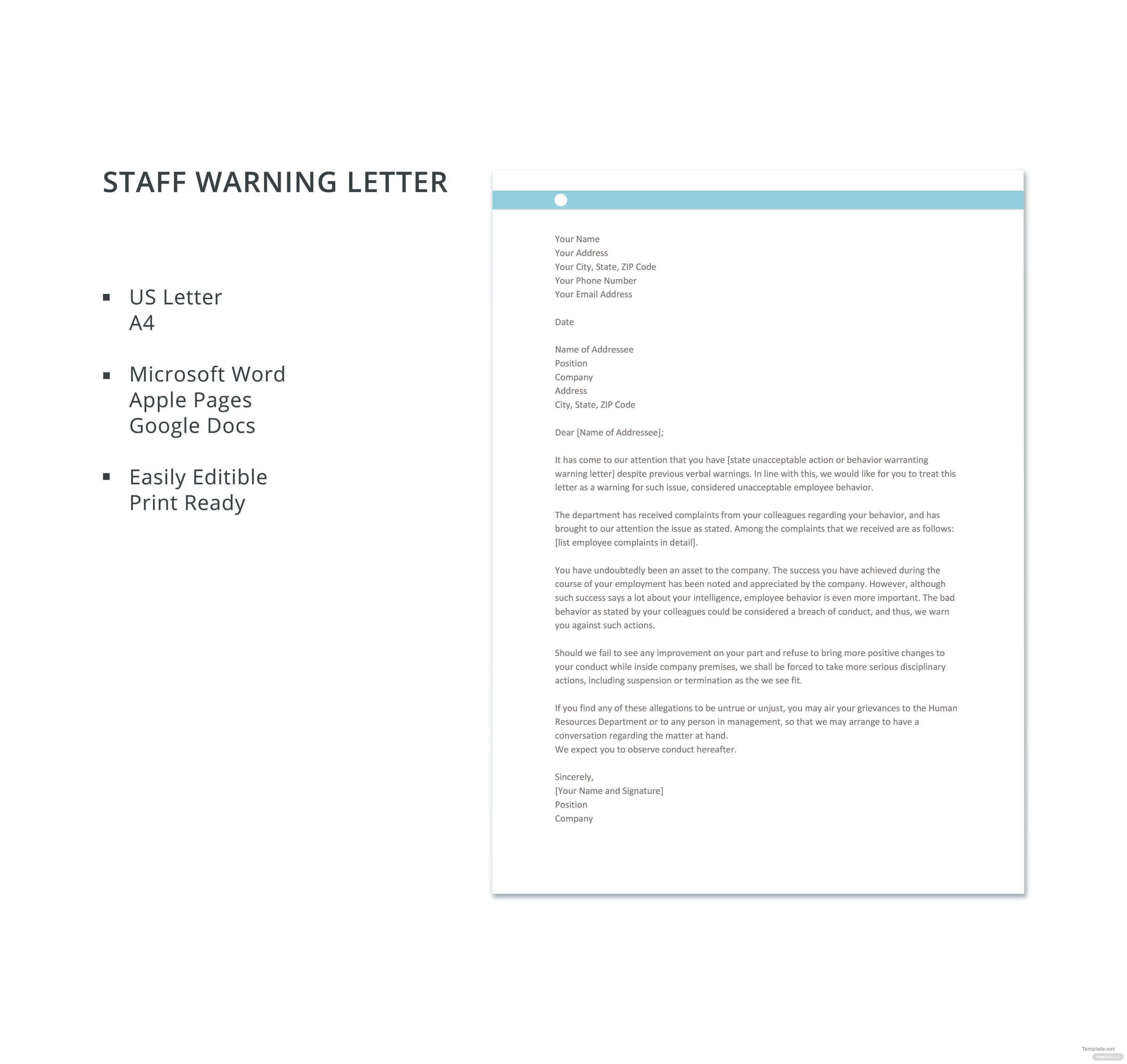Staff warning letter template in microsoft word apple pages google click to see full template staff warning letter spiritdancerdesigns Images