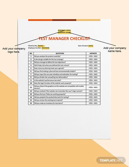 Test Manager Checklist Template