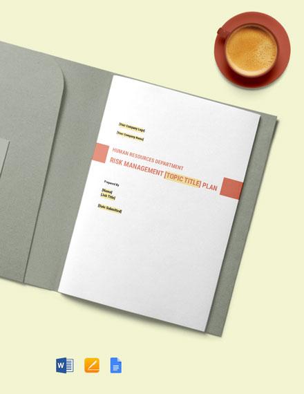 HR Risk Management Plan Template