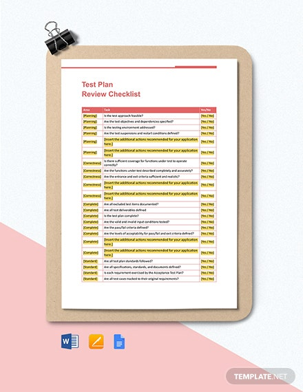 Test Plan Review Checklist Template