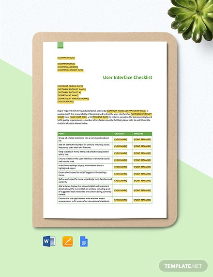 User Interface Checklist Template