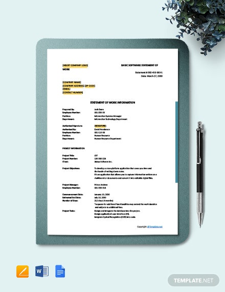 Free Basic Software Statement of Work Template