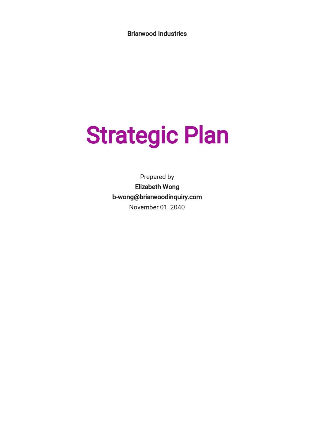 Sample HR Strategy Plan Template
