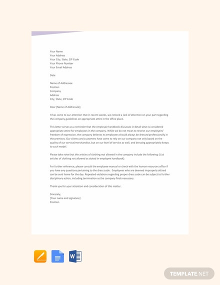 FREE Warning Letter for Dress Code Violation Template - Word