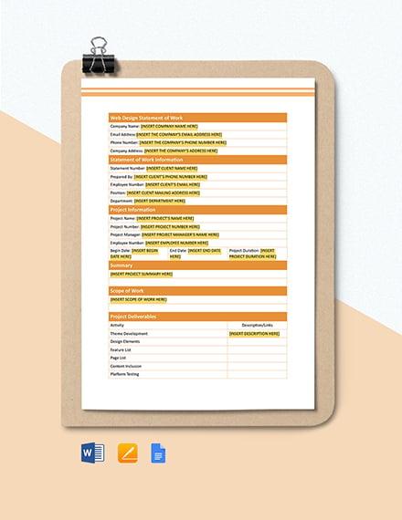 Web Design Statement of Work Template