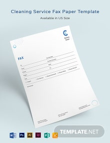 Cleaning Services Fax Paper Template