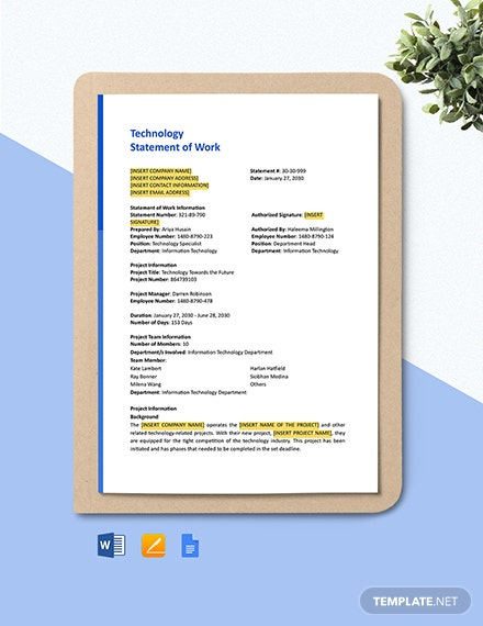 Technology Statement of Work Template