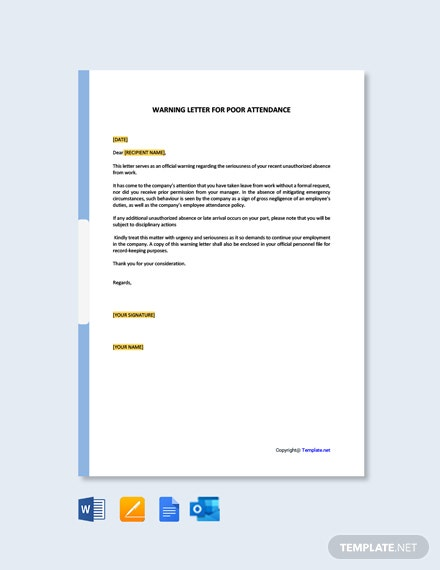 Free Warning Letter for Poor Attendance Template