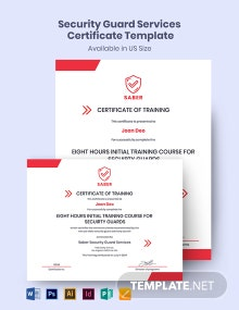 Security Guard Services Certificate Template
