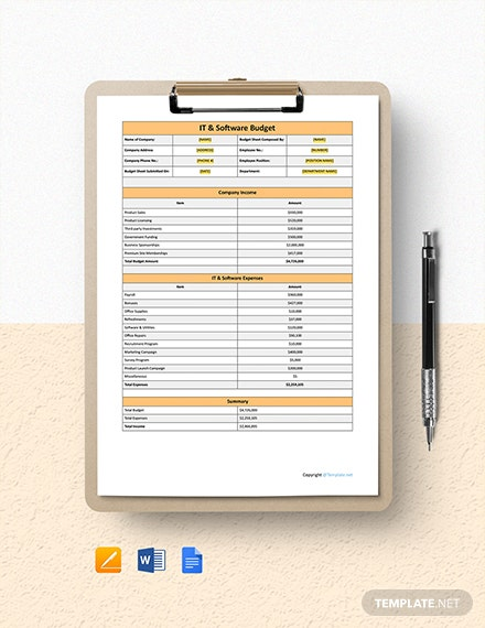 Blank IT & Software Budget Template