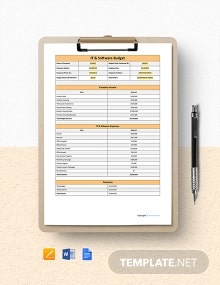 Free Blank IT & Software Budget Template