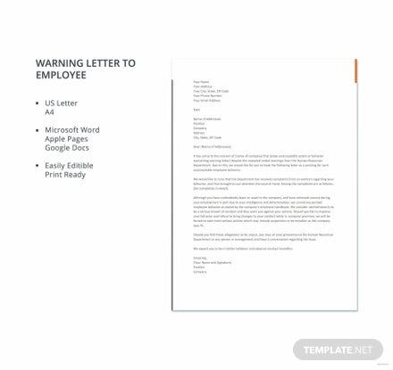 Free Warning Letter to Employee Template