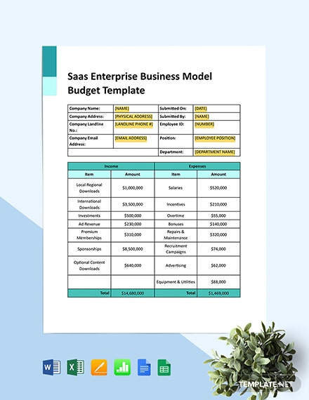 SaaS Enterprise Business Model Budget Template