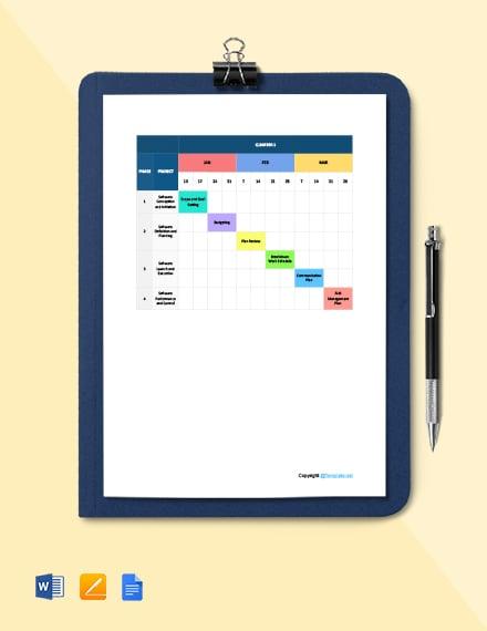 Basic Software Timeline Template