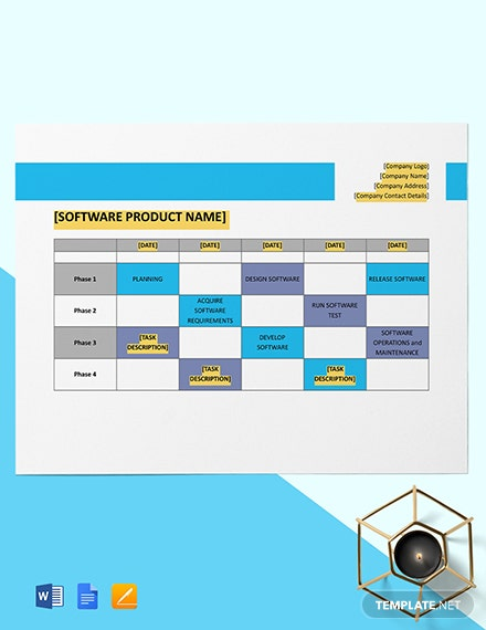 Software Product Release Timeline Template