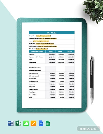 3-Year IT Project Budget Template