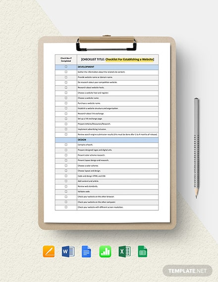 Checklist - For Establishing a Website Template