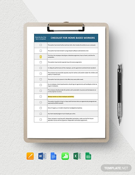 Home Based Worker Checklist Template