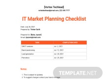 IT Market Planning Checklist Template