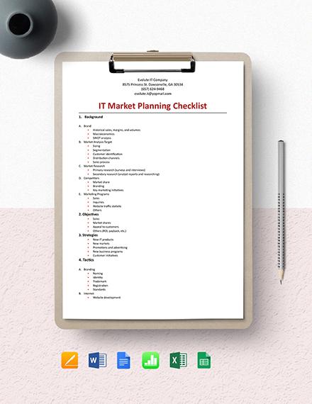 IT Market Planning Checklist Template