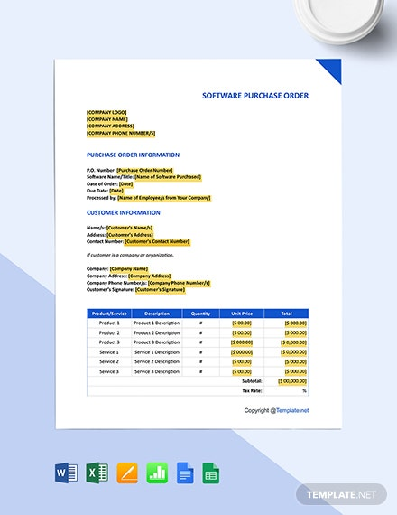 Free Blank Software Purchase Order Template