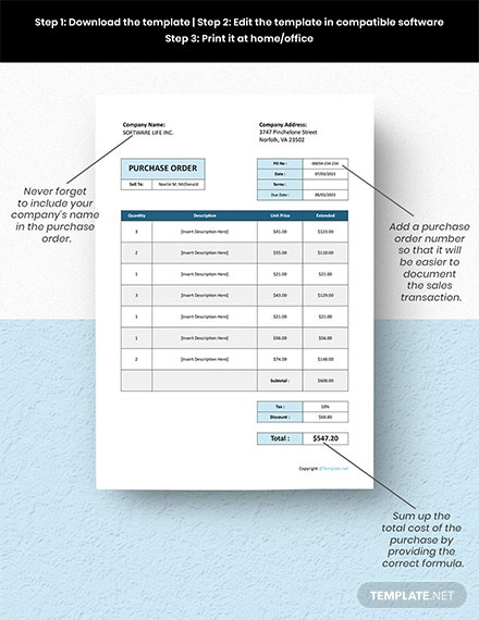 Free Basic Software Purchase Order Format