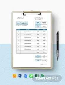 Free Basic Software Purchase Order Template