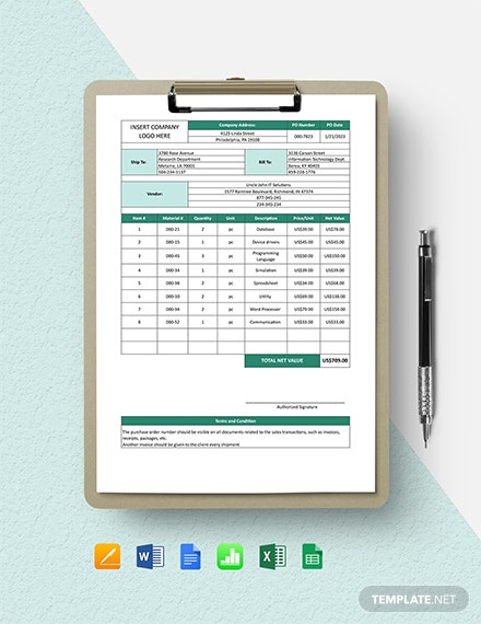 Software Purchase Order Form Template