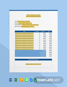 IT Project Purchase Order Template