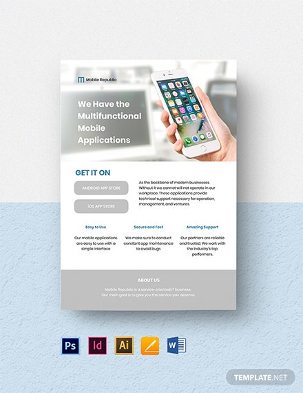 Free Sample Mobile App Flyer Template