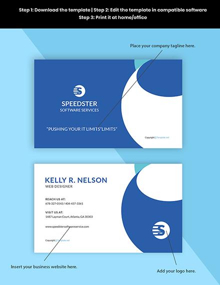 Free Creative Software Developer Business Card Template Format