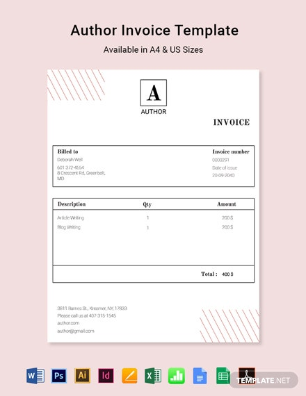 Author Invoice Template