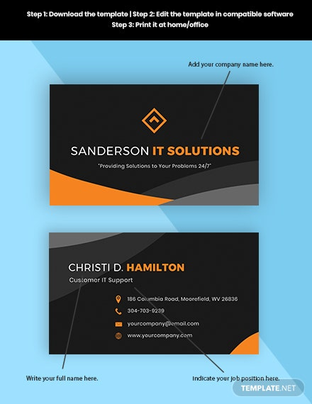 IT Support Business Card Format