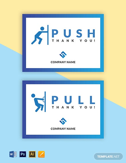 Free Push-Pull Door Sign Template