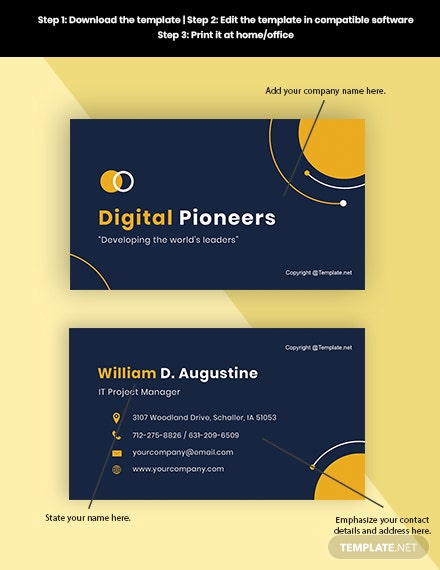 Sample Project Manager Business Card Format