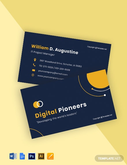 Sample Project Manager Business Card Template