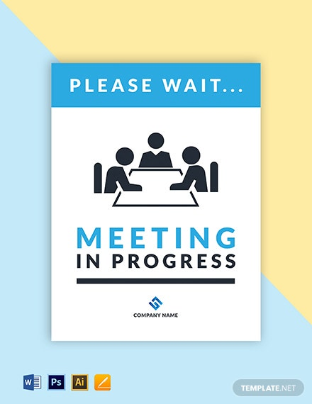 Meeting In Progress Sign Template