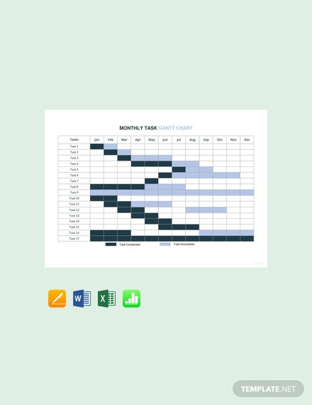 Monthly Task Gantt Chart Template