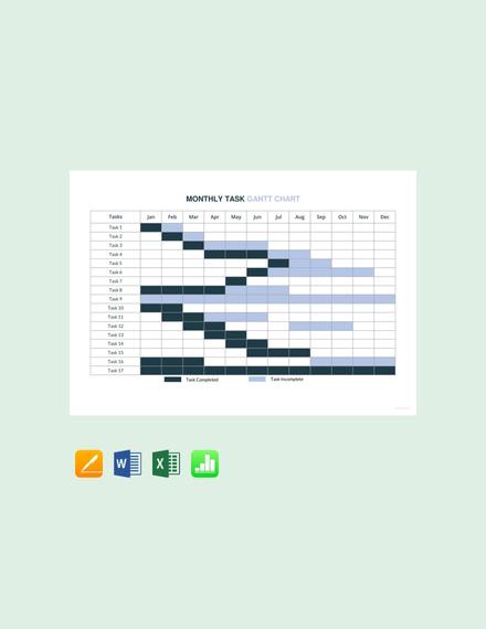 Free Monthly Task Gantt Chart Template