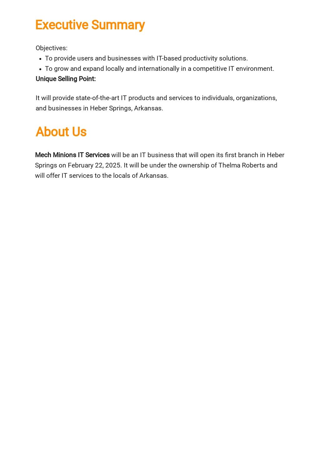 Free Basic IT Business Plan Template 1.jpe